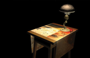 Low Poly Table and High Poly Lamp